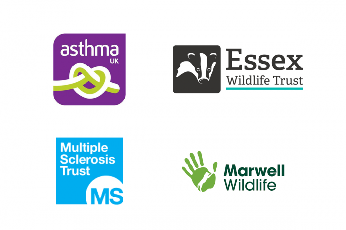 Asthma UK, MS Trust, Essex Wildlife Trust, Marwell Trust logos
